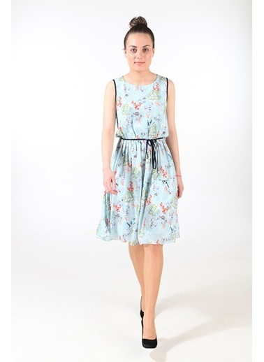 Çiçek Desenli Kolsuz Elbise-Bovona
